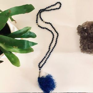 NEW Blue Lapis Chunky Bead Beaded Tassel Necklace